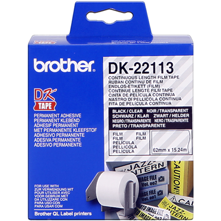 Brother DK-22113 Etiquetas  Cinta continua, 62 mm x 15,24 m transparente