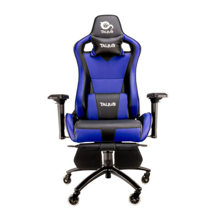 Silla gaming Talius Caiman Negro/Azul, reposapies, 4D, Frog, base metal, ruedas 75mm