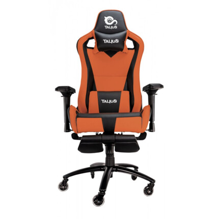 Silla gaming Talius Caiman Negro/Naranja, reposapies, 4D, Frog, base metal, ruedas 75mm
