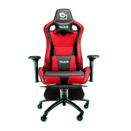 Silla gaming Talius Caiman Negro/Rojo, reposapies, 4D, Frog, base metal, ruedas 75mm