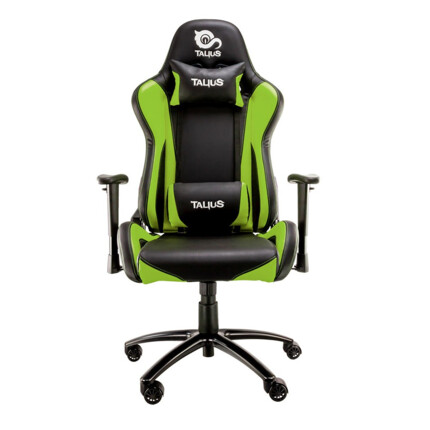 Silla gaming Talius Lizard Negro/verde, 2D, butterfly, base metal, ruedas 60mm nylon, gas clase 4